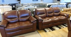 Lille 3 seater and 2 seater chestnut brown £1499 (CARDIFF SUPERSTORE) - Click for more details