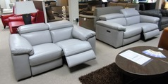 Leon electric recliner 3 seater and 2 seater grey £2999 (CARDIFF SUPERSTORE) - Click for more details