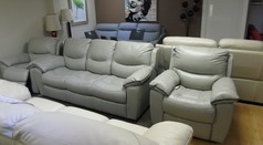 LILLE 3 seater and 2 electric recliner chairs grey £1699 (SWANSEA SUPERSTORE) - Click for more details