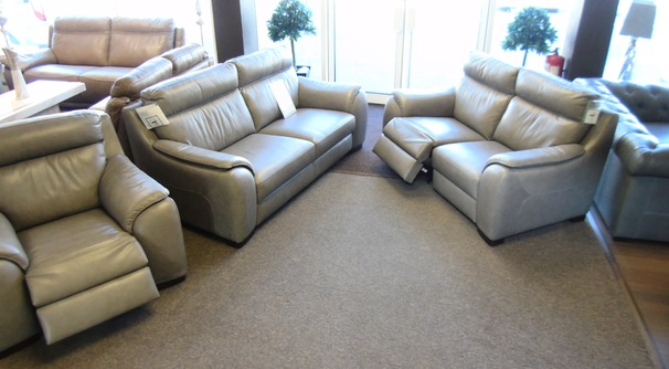 Sapri 3 seater, electric recliner 2 seater and electric recliner chair grey £2999 (SWANSEA SUPERSTORE)