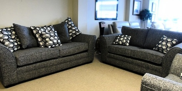 Loreen 3 seater and 2 seater grey fabric £999 (CARDIFF SUPERSTORE)