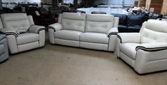 Miami electric recliner  3 seater and 2 electric recliner chairs bisque £2999 (SWANSEA SUPERSTORE) - Click for more details