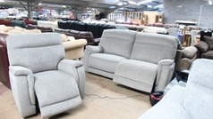 Granada electric recliner 3 seater and 1 chair grey fabric £999 (SWANSEA SUPERSTORE - Click for more details