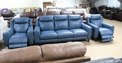 Newbury large 3 seater and 2 electric recliner chairs blue £1999 (SWANSEA SUPERSTORE) - Click for more details
