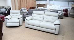 Le mans 3 seater and 1 electric recliner chair stone/taupe £1499 (SWANSEA SUPERSTORE) - Click for more details