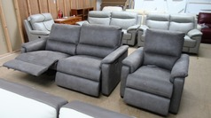 Geneva electric recliner 3 seater and 1 electric recliner chair grey £999 (SWANSEA SUPERSTORE) - Click for more details