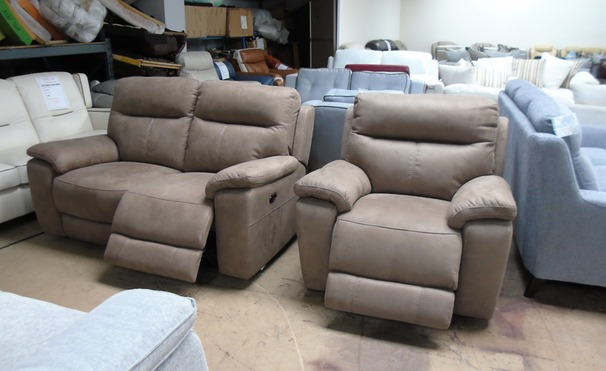 Normandy electric recliner 2 seater and 1 electric recliner chair TABAC £999  (SWANSEA SUPERSTORE)