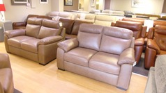 Latina 2 seater and 2 seater sand leather £999 (SWANSEA SUPERSTORE) - Click for more details