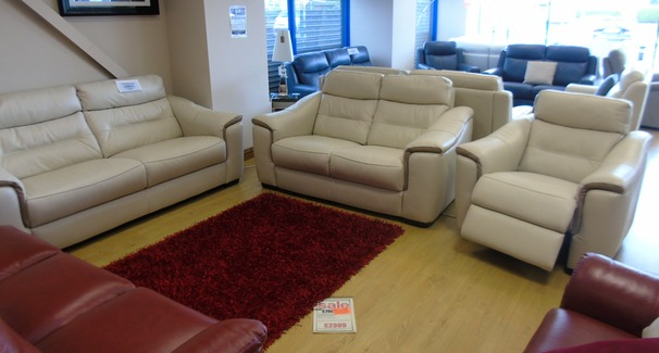 Luxembourg 3 seater, 2 seater and electric recliner chair beige  £1999 (NEWPORT STORE)