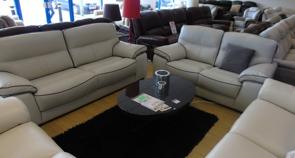 Napa 3 seater and 2 seater stone hide £1999 (NEWPORT STORE)