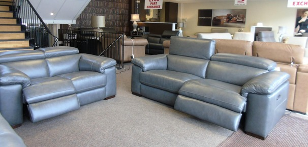 Leon electric recliner 3 seater and 2 seater dark grey £2999 (SWANSEA SUPERSTORE)