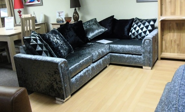 Crushed velvet corner suite silver £399  (SWANSEA SUPERSTORE)
