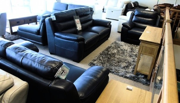 Charlotte 3 seater, 2 seater and electric recliner chair navy £1799 (CARDIFF SUPERSTORE)