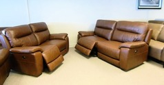Normandy electric recliner 3 seater and 2 seater mid brown tan £1499 (CARDIFF SUPERSTORE) - Click for more details