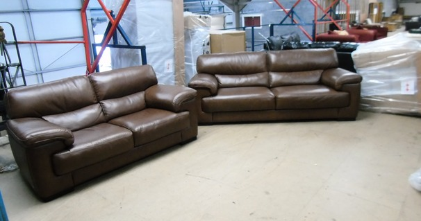Rosa 3 seater and 2 seater mid brown £1799 (CARDIFF SUPERSTORE)