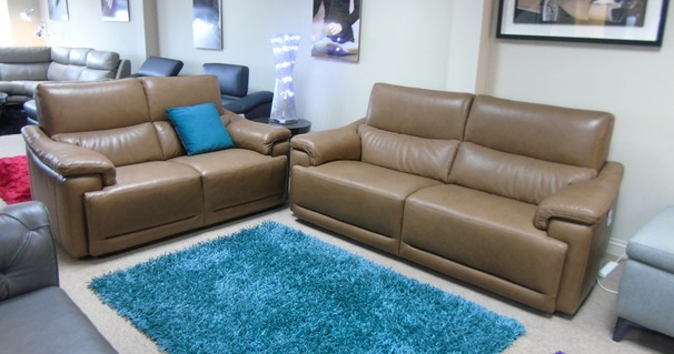 Pavia 3 seater and 2 seater sand £2999 (CARDIFF SUPERSTORE)