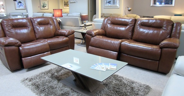 Lydstep electric recliner 3 seater and 2 seater mid brown £2799 (CARDIFF SUPERSTORE)