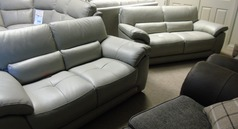 Baresi 3 seater and 2 seater grey  leather £1699 (CARDIFF SUPERSTORE) - Click for more details