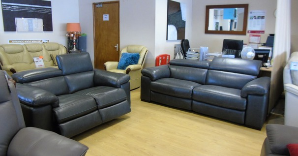 LEON electric recliner 3 seater and 2 serater charcoal grey £2999 (NEWPORT STORE)