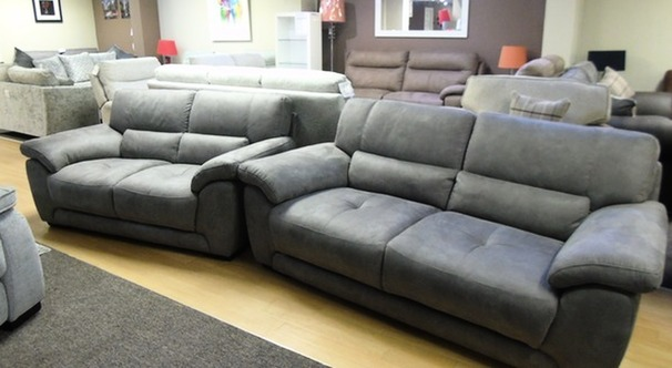 BARESI 3 seater and 2 seater grey £999 (SWANSEA SUPERSTORE)