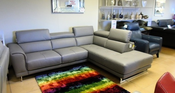 Brindisi leather corner suite grey £1999 (SWANSEA SUPERSTORE)
