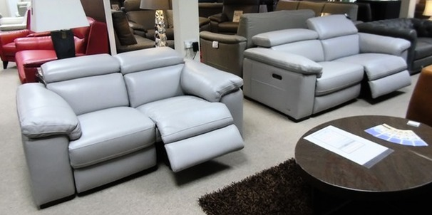 LEON  electric recliner 3 seater and 2 seater mid grey £2999 (SWANSEA SUPERSTORE)