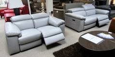 LEON  electric recliner 3 seater and 2 seater mid grey £2999 (SWANSEA SUPERSTORE)  - Click for more details