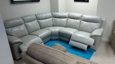 Paris electric recliner corner suite grey  £1999  (CARDIFF SUPERSTORE) - Click for more details