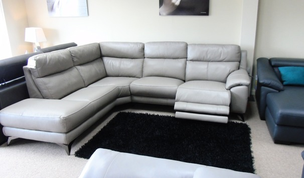 Narbonne electric recliner corner suite grey  £2599 (CARDIFF SUPERSTORE)