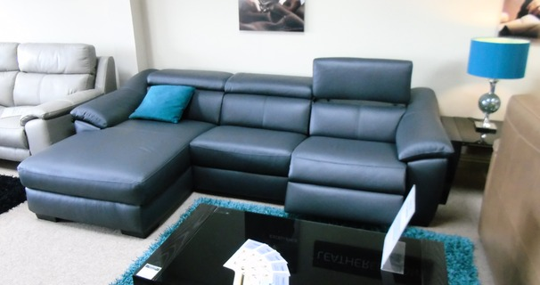 CATANIA electric recliner chaise sofa  black £2499 (CARDIFF SUPERSTORE)