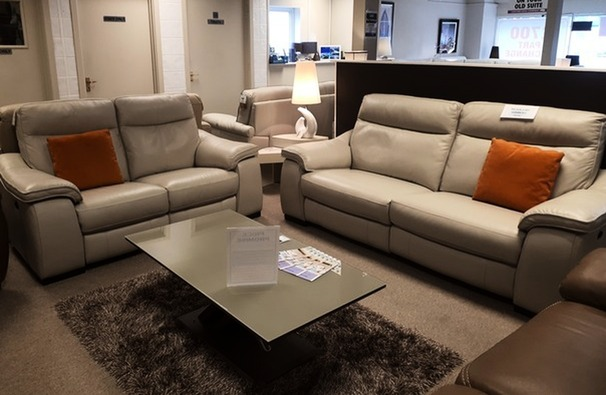 Marseille 3 seater and 2 seater  stone grey £1999 (SWANSEA SUPERSTORE)