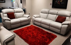 Barcelona 3 seater and 2 seater stone hide £1899 (SWANSEA SUPERSTORE) - Click for more details