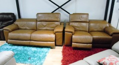 Limoge electric recliner 3 seater and 2 seater tan £2999 (SWANSEA SUPERSTORE) - Click for more details