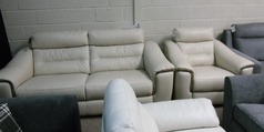 Luxembourg 3 seater and 1 electric recliner chair biscuit £1499 (SWANSEA SUPERSTORE) - Click for more details