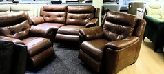 Miami electric recliner 3 seater and 2 electric recliner chairs dark tan £1499 (SWANSEA SUPERSTORE) - Click for more details