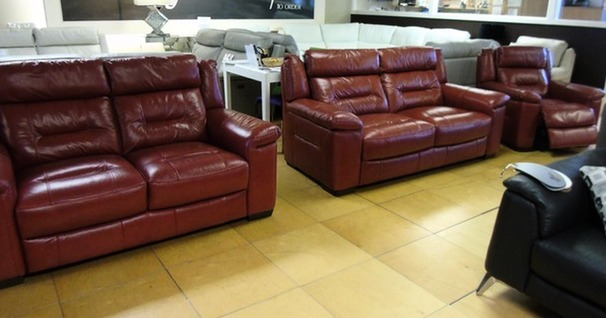 Somerset 3 seater, 2 seater and electric recliner chair red £1999 (SWANSEA SUPERSTORE)