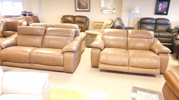 Lipari electric recliner 3 seater and 2 seater two tone sand £2999 (CARDIFF SUPERSTORE)
