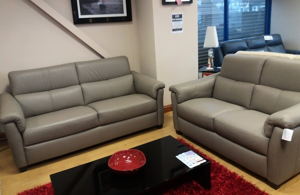 OSTIA 3 seater and 2 seater stone hide £2499 (NEWPORT STORE)