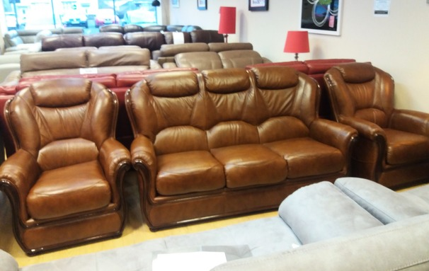 Gemma 3 seater and 2 chairs antique brown £1799 (NEWPORT STORE)