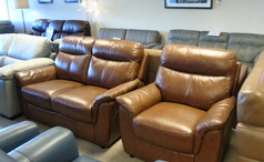 BRUSSELS 2 seater and 1 chair mid brown £899 (CARDIFF SUPERSTORE) - Click for more details
