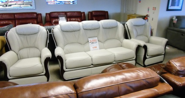 Gemma 3 seater and 2 chairs grey £1799 (CARDIFF SUPERSTORE))
