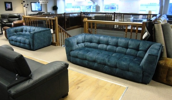 London 3 seater and 2 seater blue £999 (CARDIFF SUPERSTORE)