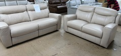Grenoble electric recliner 3 seater and (static ) 2 seater pebble (SWANSEA SUPERSTORE) - Click for more details