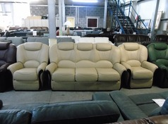 Como 3 seater and 2 chairs cream hide £999 (SWANSEA SUPERSTORE) - Click for more details