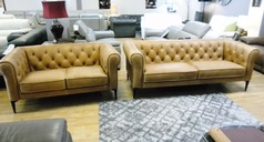Hampton chesterfield 3 seater and 2 seater tan £1499 (SWANSEA SUPESTORE) - Click for more details