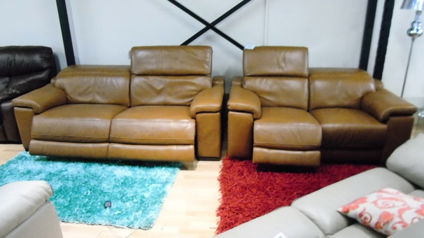 Limoge electric recliner 3 seater and 2 seater tan £1999 (SWANSEA SUPERSTORE)