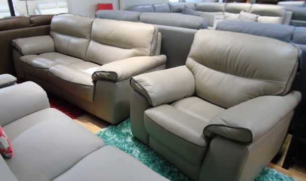 Napa 3 seater and 1 chair beige hide £999 (SWANSEASUPERSTORE)