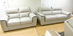 New Trend 3 seater and 2 seater cream leather £1499 (SWANSEA SUPERSTORE) - Click for more details