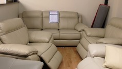 NIMES 3 seater and 2 electric recliner chairs Buttermilk £1399 (SWANSEA SUPERSTORE) - Click for more details