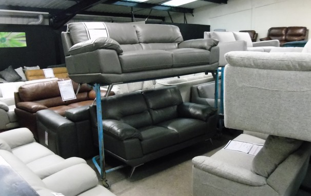 CALAIS 3 seater and 2 seater grey £1299 (SWANSEA SUPERSTORE)